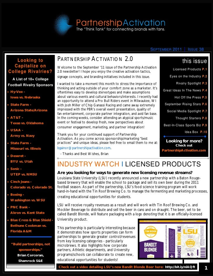 SEPTEMBER 2011            ISSUE 38    Looking to                  PARTNERSHIP ACTIVATION 2.0                              ...