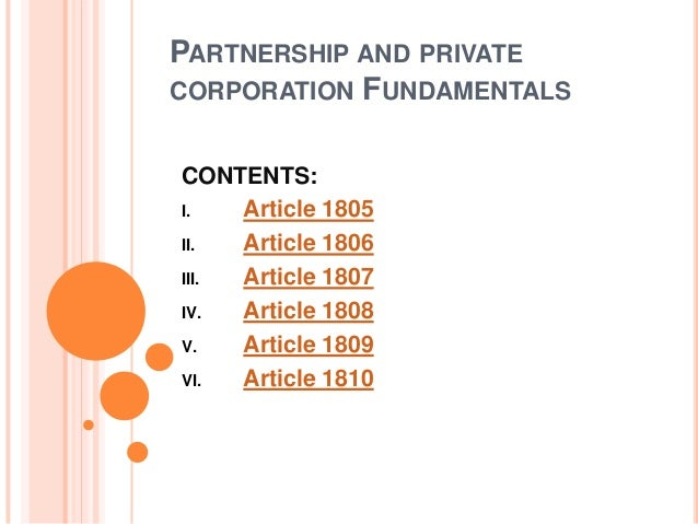 Partnership and private corporation fundamentals