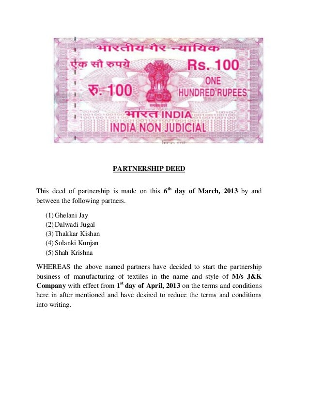 PARTNERSHIP DEED This deed of partnership is made on this 6th day of March, 2013 by and between the following partners. (1...