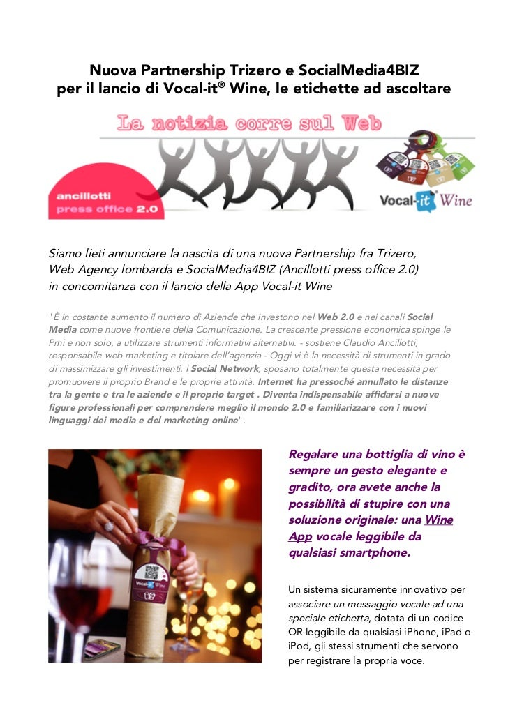 Vocal-it® Wine: Social Media Partnership con Ancillotti press office 2.0