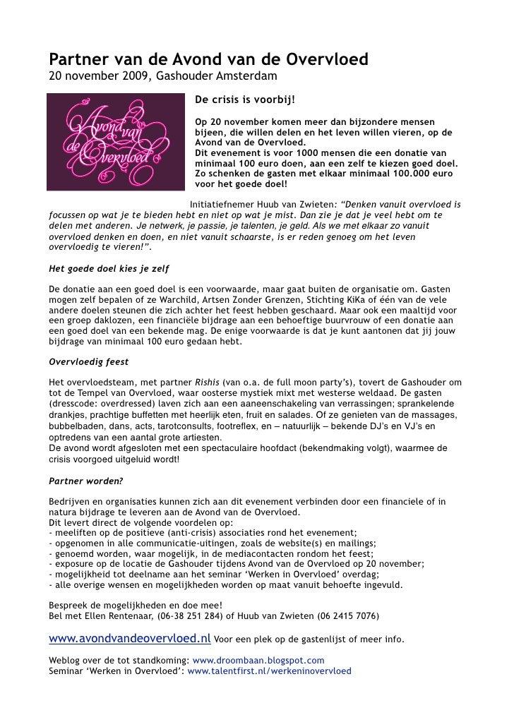 Partner Van De Avond Van De Overvloed (20 Nov)