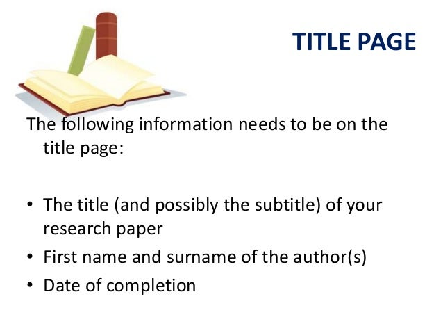 do title page research paper
