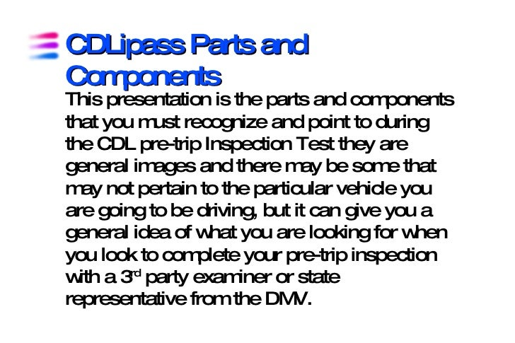 CDLipass Parts and Components This presentation is the parts and components that you must recognize and point to during th...