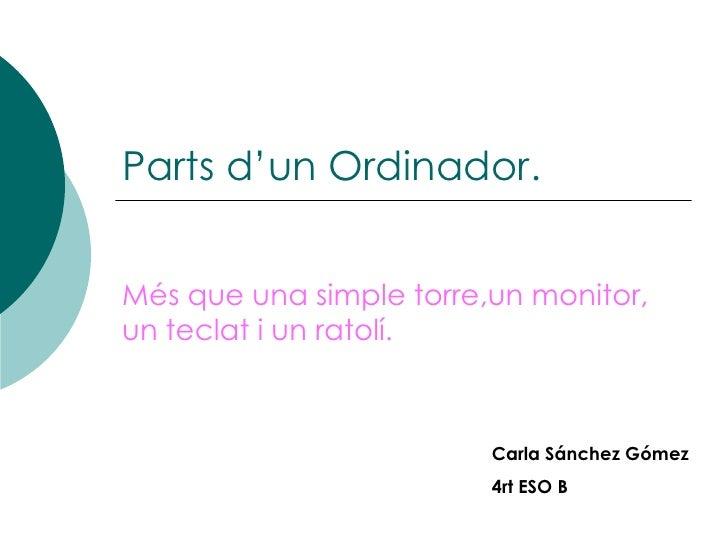 Parts d'un Ordinador.Més que una simple torre,un monitor,un teclat i un ratolí.                         Carla Sánchez Góme...