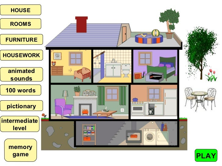 HOUSE  ROOMS FURNITUREHOUSEWORK  animated   sounds 100 words pictionaryintermediate    level  memory   game        PLAY