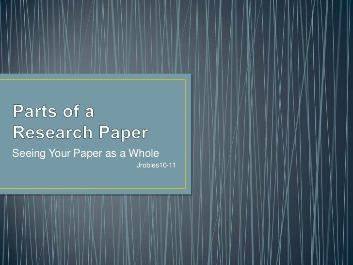 parts of a research paper chapter 1