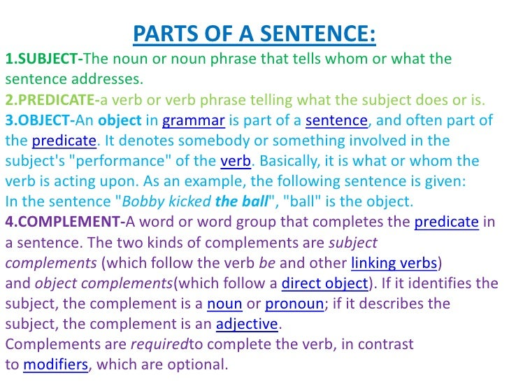 speech fav subject What part of speech is the subject of a sentence the subject is normally a noun or a pronoun however, it may also be the infinitive or the gerund form of a verb, or a clause john was happy.