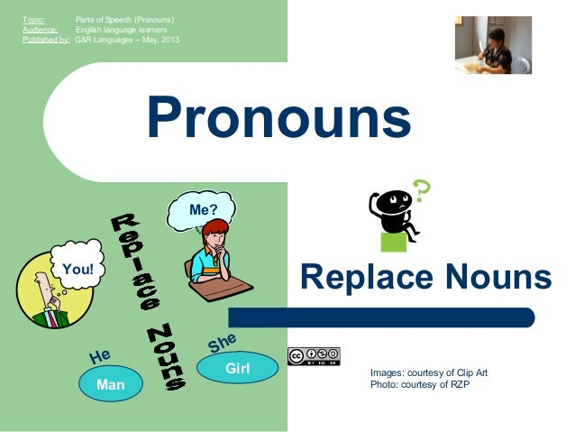 Images: courtesy of Clip ArtPhoto: courtesy of RZPPronounsReplace NounsTopic: Parts of Speech (Pronouns)Audience: English ...