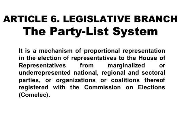 ARTICLE 6. LEGISLATIVE BRANCH  The Party-List System  It is a mechanism of proportional representation in the election of ...