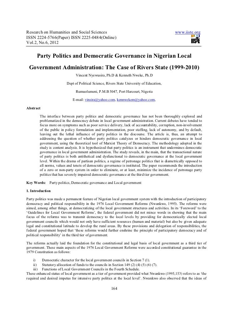 Party politics and democratic governance in nigerian local