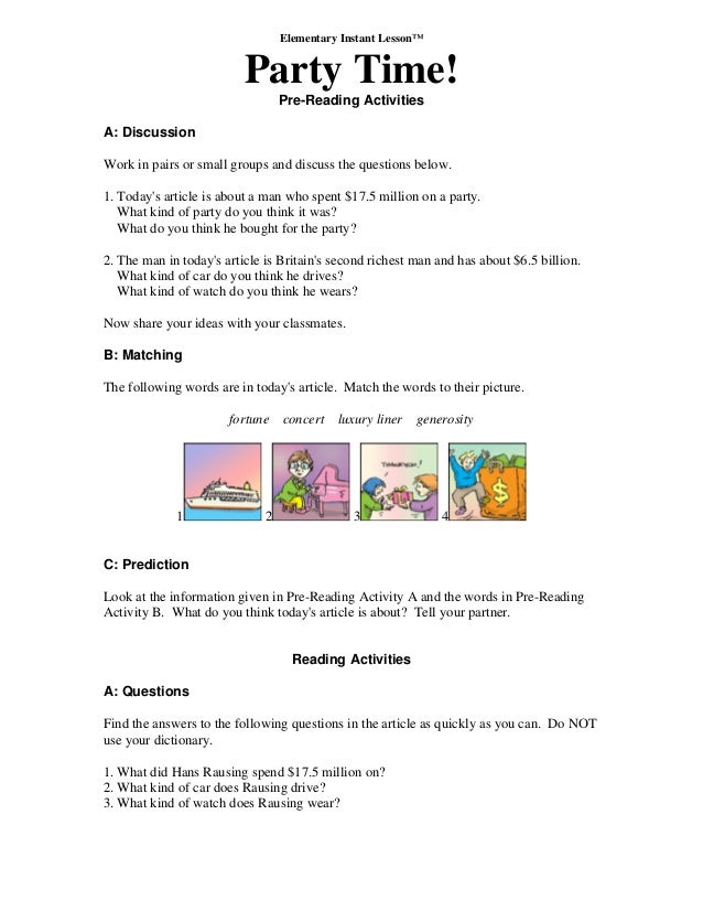 Elementary Instant Lesson™ Party Time! Pre-Reading Activities A: Discussion Work in pairs or small groups and discuss the ...