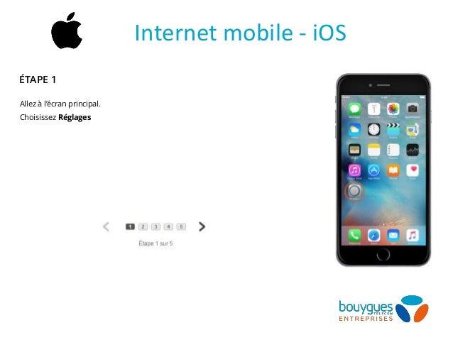 Allez à l'écran principal. Choisissez Réglages Internet mobile - iOS ÉTAPE 1