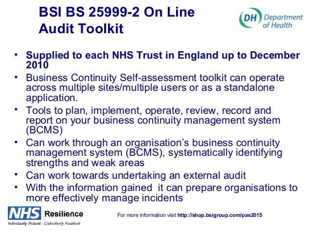Business continuity plan nhs