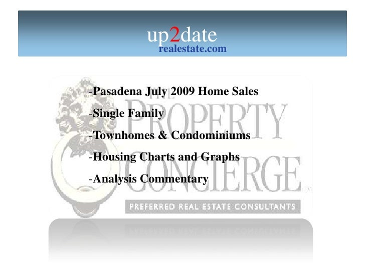 Pasadena Homes July '09 Analysis