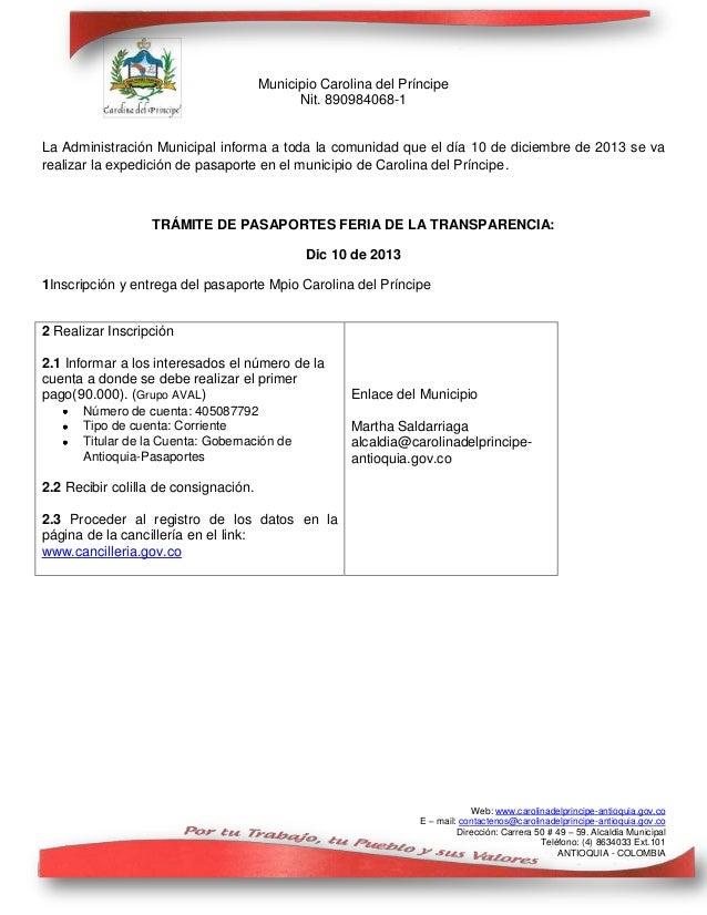 Municipio Carolina del Príncipe Nit. 890984068-1 La Administración Municipal informa a toda la comunidad que el día 10 de ...
