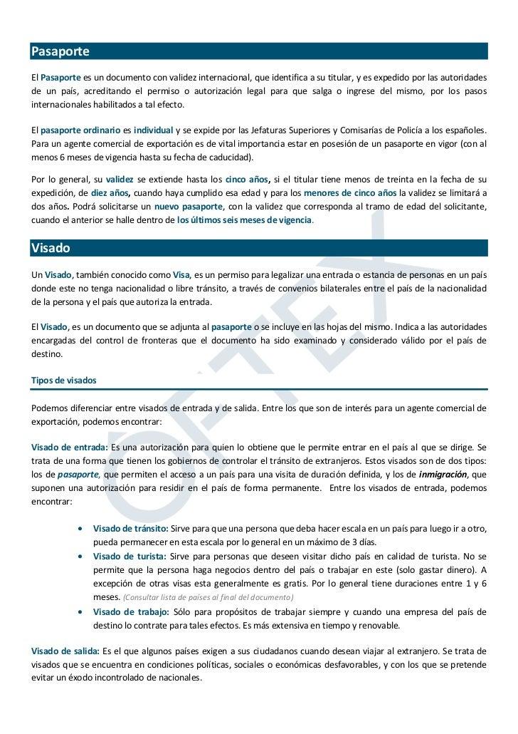 Manual del exportador: Pasaportes y visados