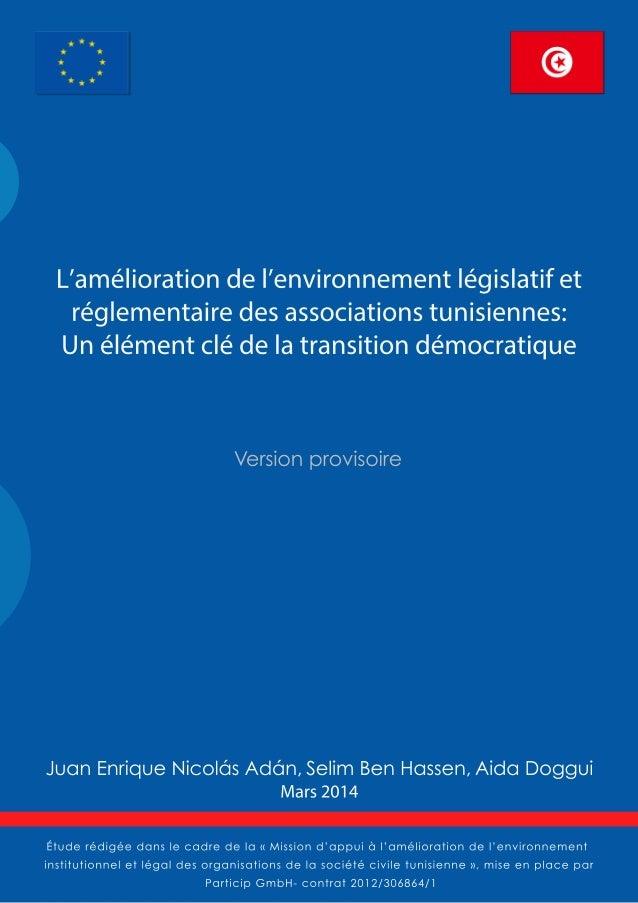 L'environnement législatif et réglementaire des associations tunisiennes : un enjeu clé de la transition démocratique  Mis...