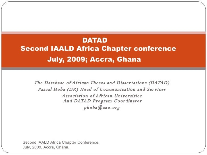 Database of African Theses and Dissertations