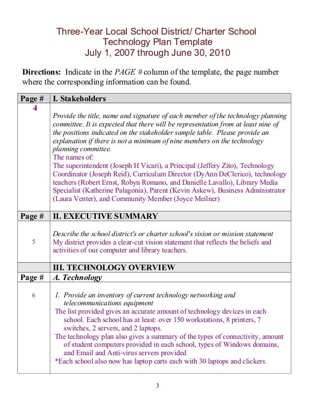 School Technology Plan Template Images