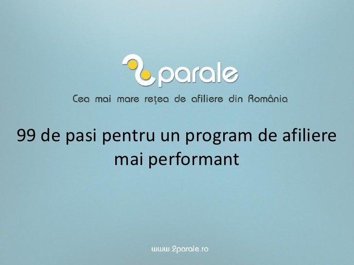 Pasi pentru un program de afiliere performant - Bogdan Aron