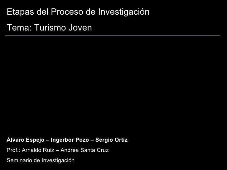 Etapas del Proceso de Investigación Tema: Turismo Joven Álvaro Espejo – Ingerbor Pozo – Sergio Ortiz Prof.: Arnaldo Ruiz –...