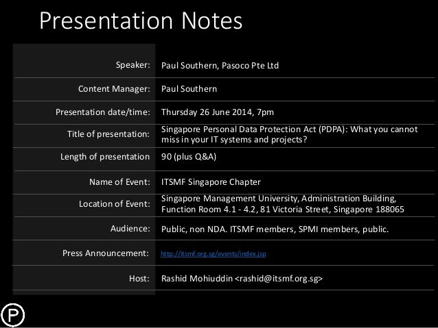 Page: 1 Presentation Notes Paul Southern, Pasoco Pte Ltd Paul Southern Speaker: Content Manager: Title of presentation: Na...