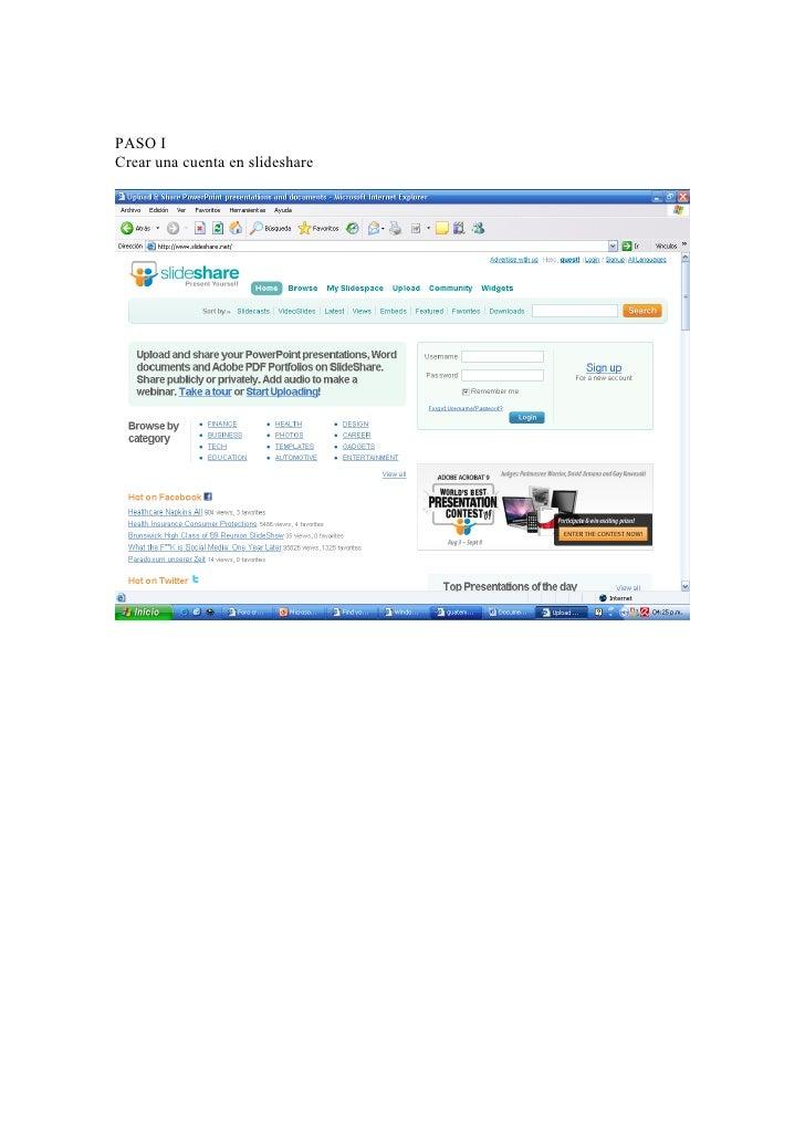 PASO I Crear una cuenta en slideshare