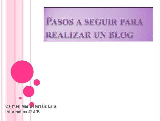 Pasos a seguir para realizar un blog