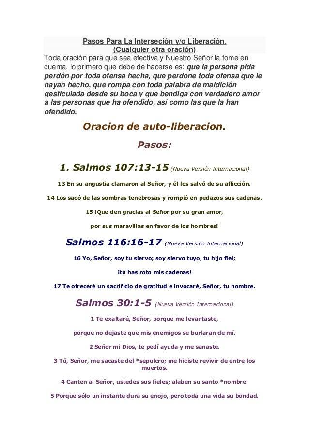 Pasos Para La Interseción y/o Liberación. (Cualquier otra oración) Toda oración para que sea efectiva y Nuestro Señor la t...