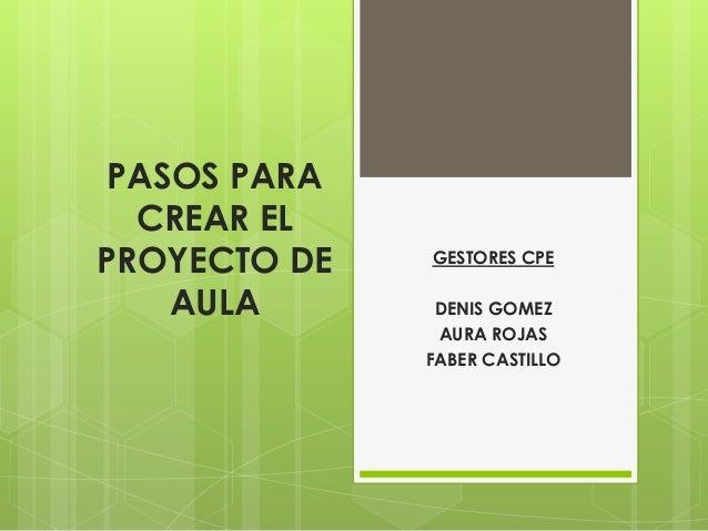 PASOS PARA  CREAR ELPROYECTO DE   GESTORES CPE    AULA       DENIS GOMEZ               AURA ROJAS              FABER CASTI...