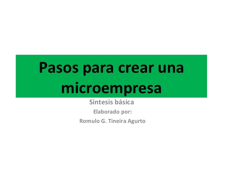 Pasos para crear una microempresa