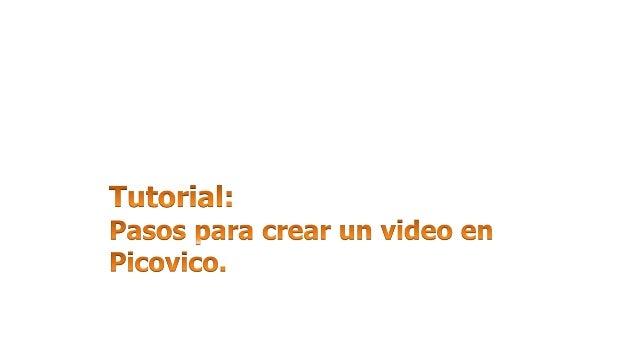 1. Ingresamos a www.picovico.com/es/home.  2. Clic en: 'Registrarse'.  3. Completar  campos.  4. Confirmar cuenta en corre...