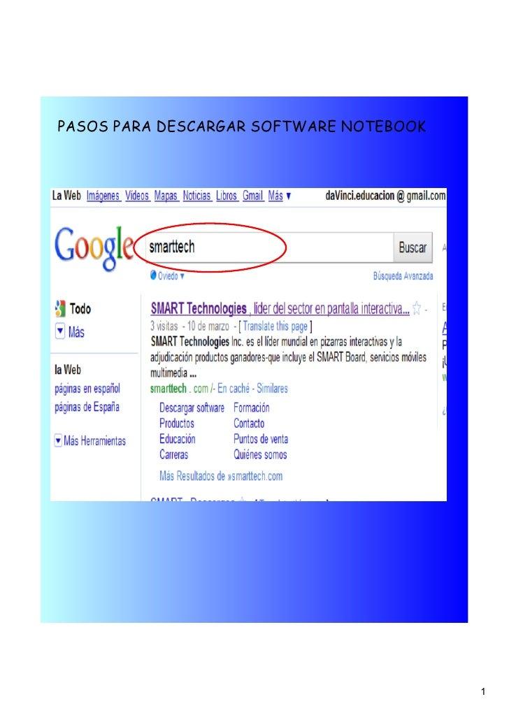 Pasos para descargar Software Notebook PDI Smart Board