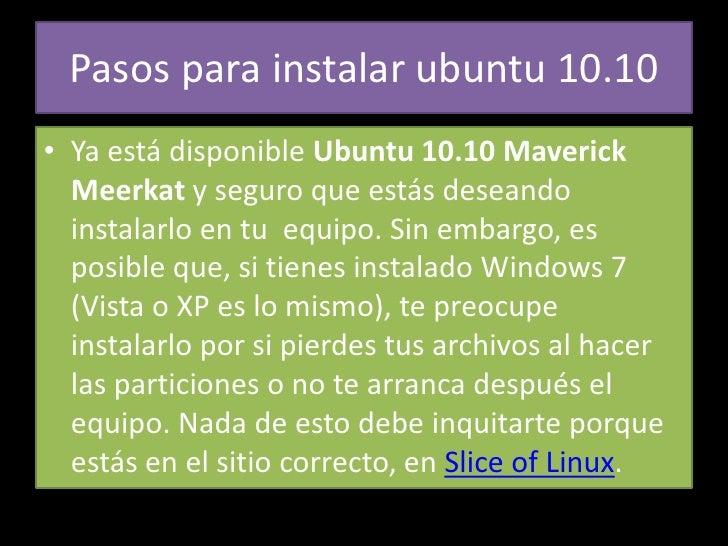 Pasos para instalar ubuntu 10