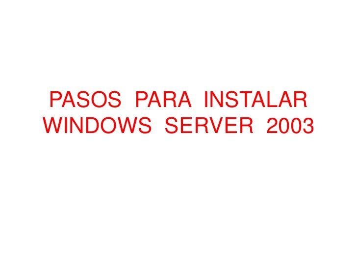 instalar windows server: