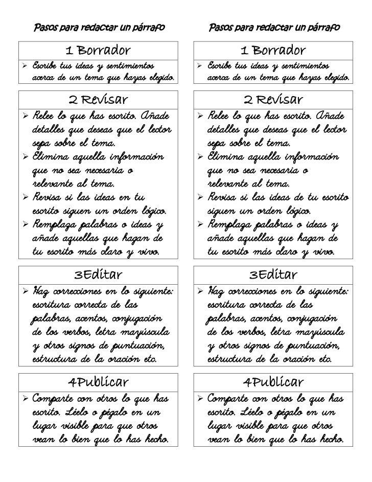 Pasos para redactar un párrafo