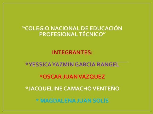 """""""COLEGIO NACIONAL DE EDUCACIÓN PROFESIONAL TÉCNICO"""" INTEGRANTES: *YESSICAYAZMÍN GARCÍA RANGEL *OSCAR JUANVÁZQUEZ *JACQUELI..."""