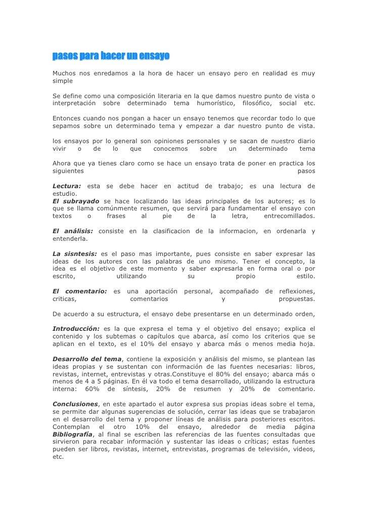 """HYPERLINK """" http://www.foroin.com/2009/08/pasos-para-hacer-un-ensayo.html""""  pasos para hacer un ensayo <br />Muchos nos e..."""