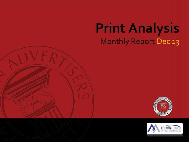 Print Analysis  Monthly Report Dec 13