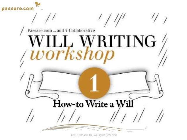 How-to Write a Will - Will Writing Workshop
