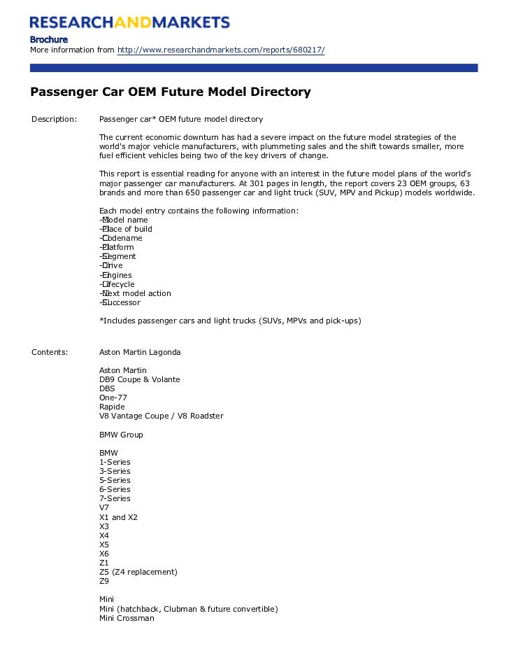 Passenger Car Oem Future Model Directory