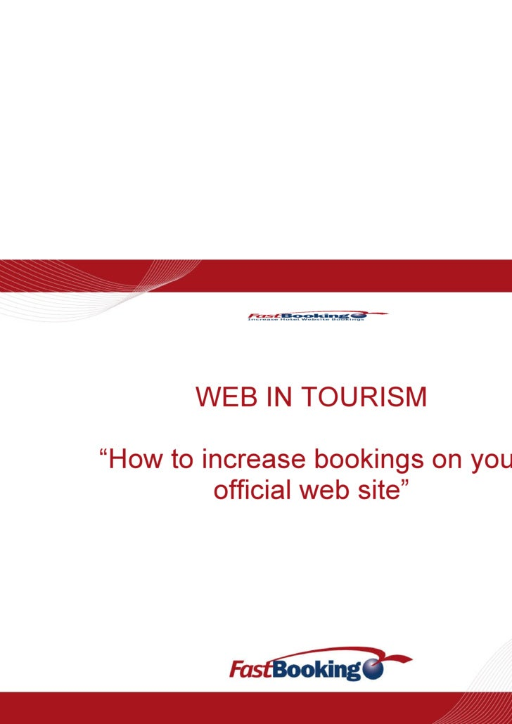 """WEB IN TOURISM """"How to increase bookings on your official web site"""""""