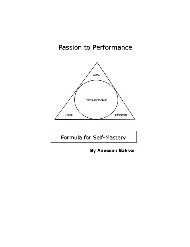 Passion to PerformanceFormula for Self-Mastery          By Aneesah Bakker