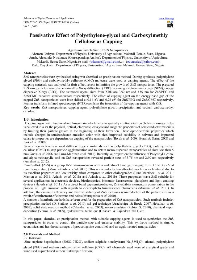 Passivative effect of polyethylene glycol and carboxylmethly cellulose as capping