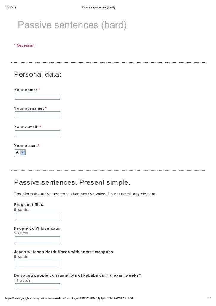 Passive sentences (hard)