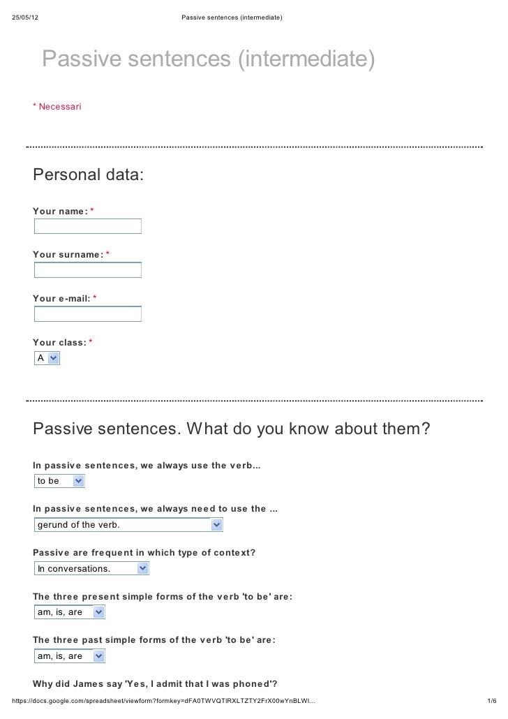 Passive sentences (intermediate)