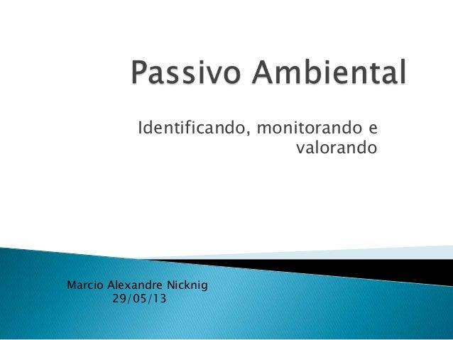 Identificando, monitorando e valorando Marcio Alexandre Nicknig 29/05/13