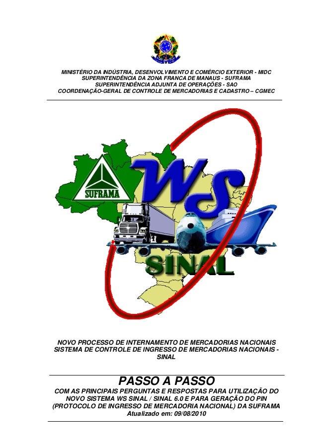 SUFRAMA - Passo a passo remetente WS SINAL - Atualizado até 09/08/2010