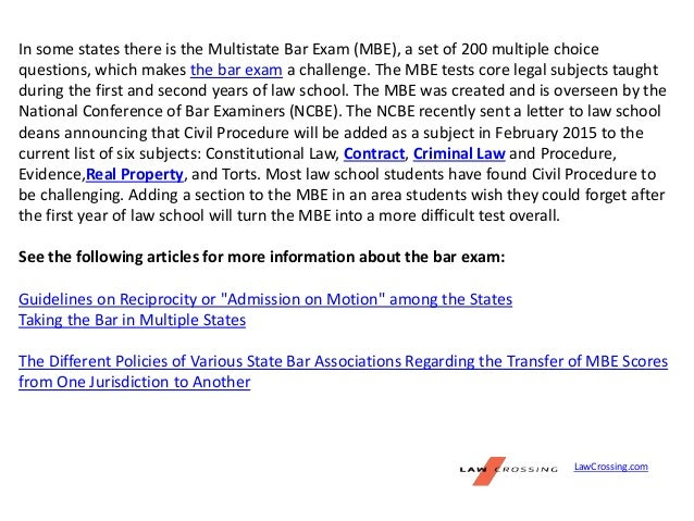 california bar exam essay subjects tested