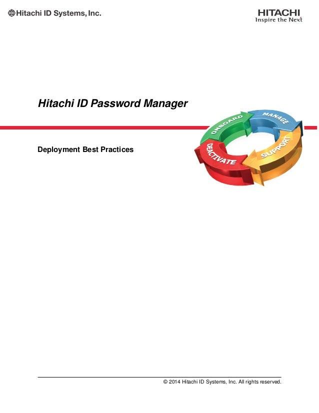 Hitachi ID Password Manager Deployment Best Practices